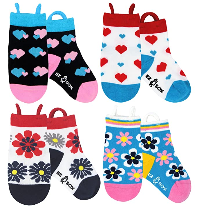 Ez Sox Toddler Girls Socks Seamless Toe Non Skid Grips Cotton Pull Up Loops