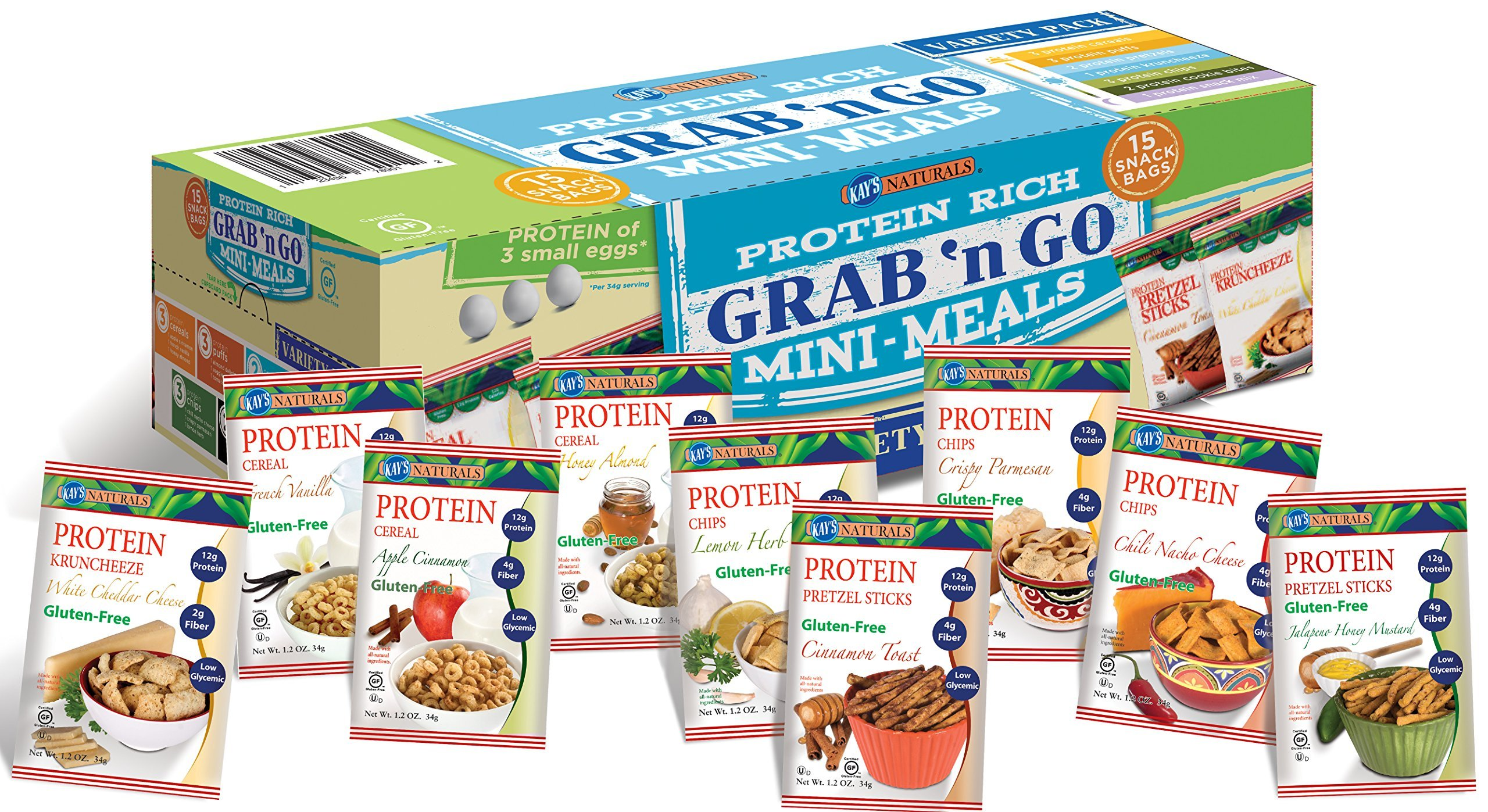Kay's Naturals Protein Grab n' Go Mini Meals, Variety Pack, Gluten-Free, Low Carbs, Low Fat, Diabetes Friendly All Natural Flavorings, (Pack of 15) by Greaton,