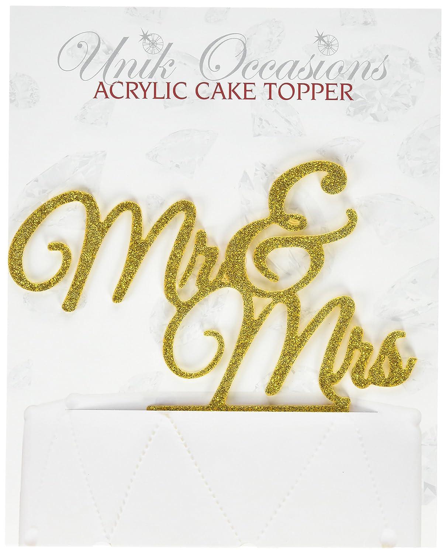 Unik Occasions 'Mr. & Mrs. Elegant Acrylic Cake Topper, Gold Glitter UO-CT-AC-0025