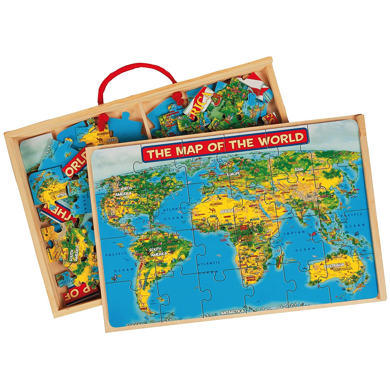 Amazoncom TS Shure US  World Map Puzzles In A Wooden Box - Mlb us map
