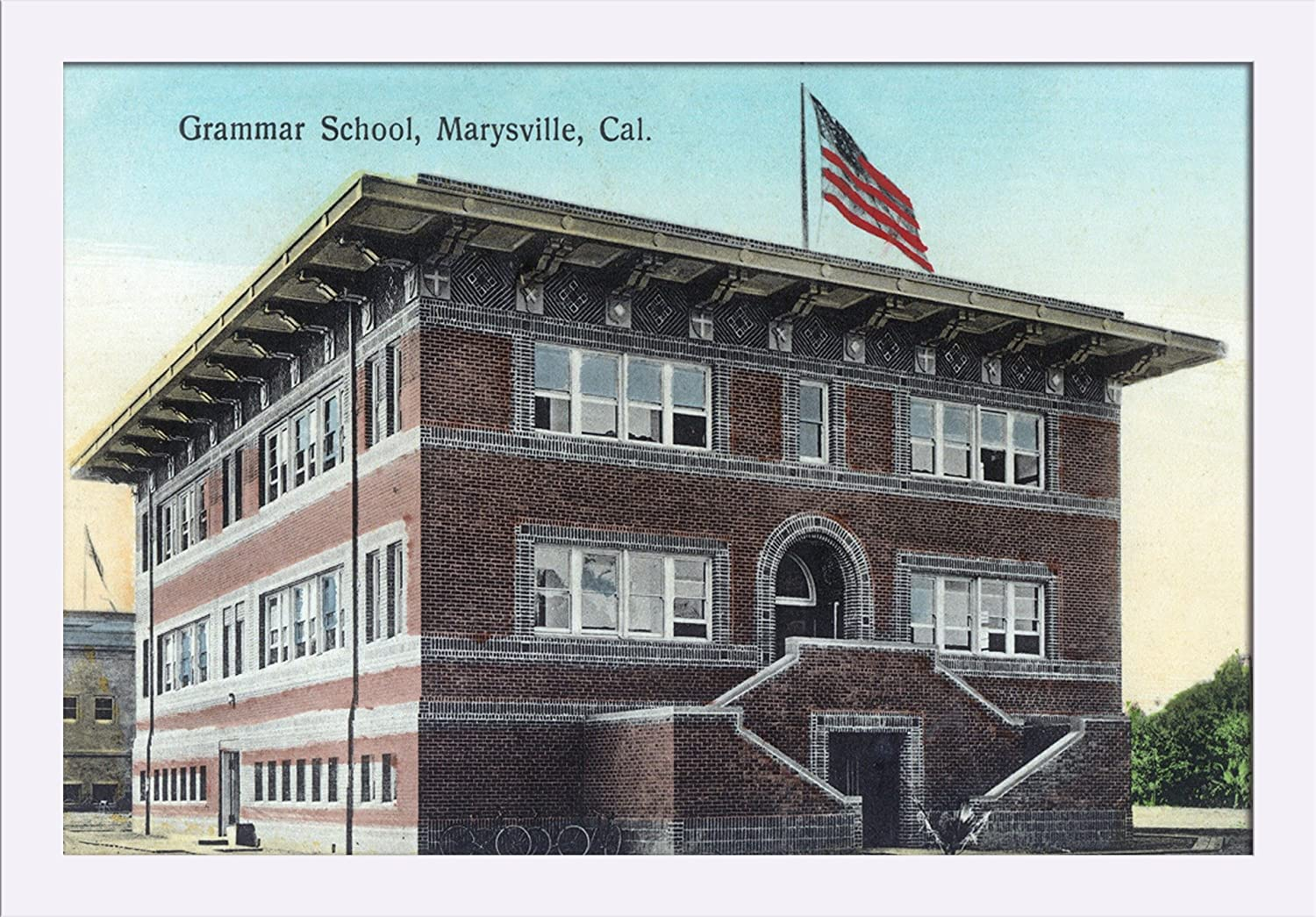 Amazon.com: Marysville, California - Exterior View of the Grammar School (24x15 3/8 Giclee Art Print, Gallery Framed, White Wood): Posters & Prints