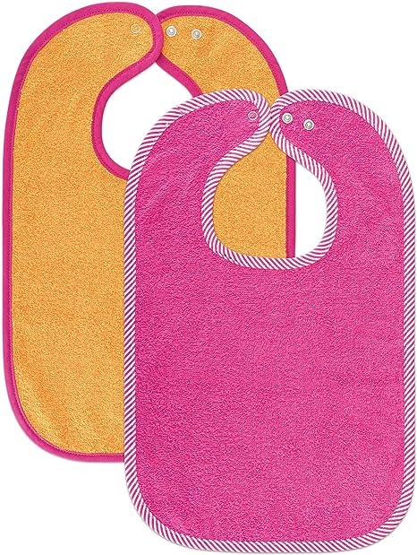 Set de 2 baberos para bebé Wörner - baberos de rizo con botón a presión ajustable | extra largo, absorbente, Certificado OekoTex - 100% algodón - (Rosa/Naranja): Amazon.es: Bebé