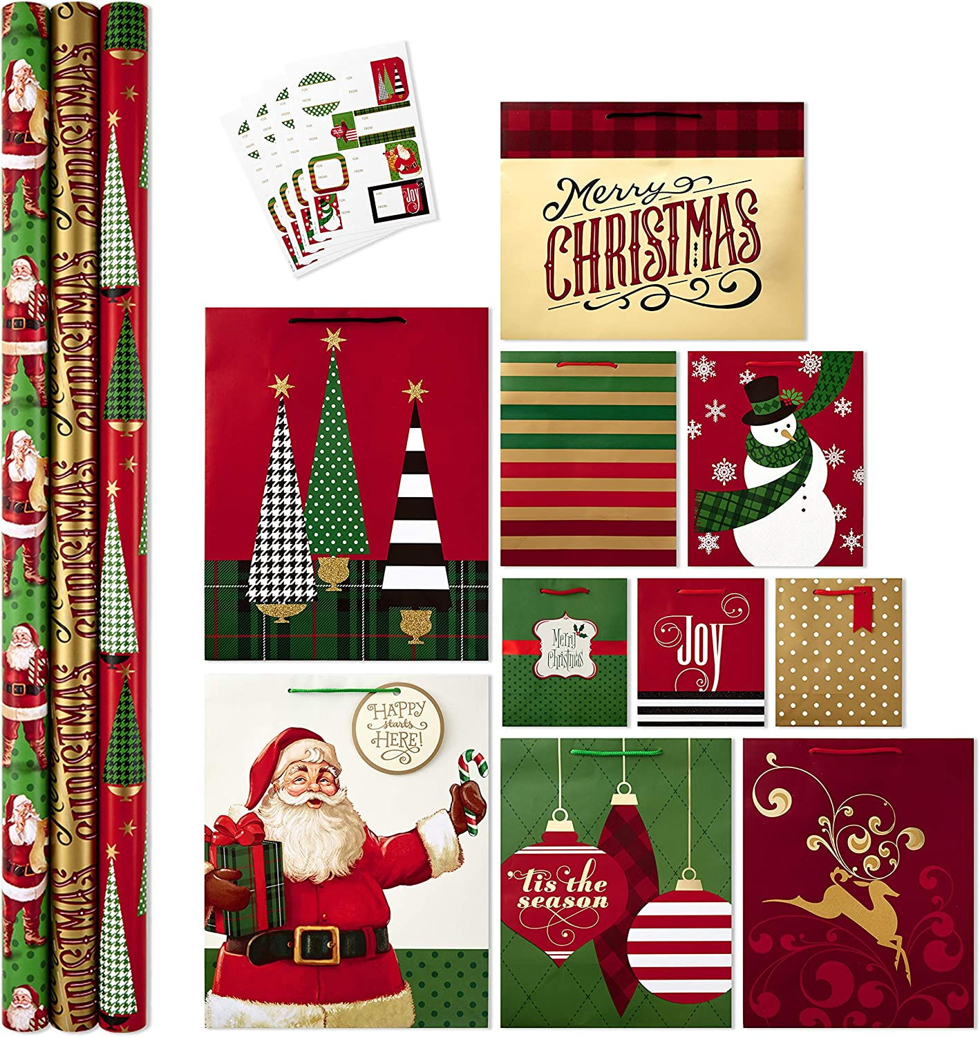 Amazon Com Hallmark All In One Christmas Gift Wrapping Set Traditional 3 Rolls Of Wrapping Paper 10 Assorted Gift Bags 32 Gift Tag Stickers Kitchen Dining