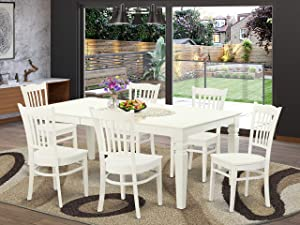 7 PcTable and chair set with a Dining Table and 6 Dining Chairs in Linen White