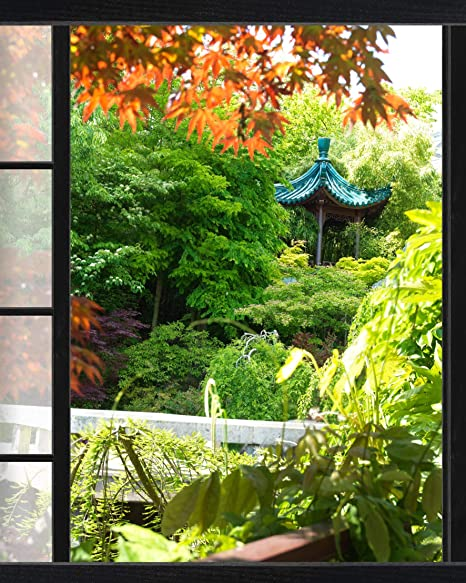 Plage Falsa Ventana Adhesiva Vistas a Un Jardín Japonés, Tela, Multicolor, 75x3x60 cm: Amazon.es: Hogar