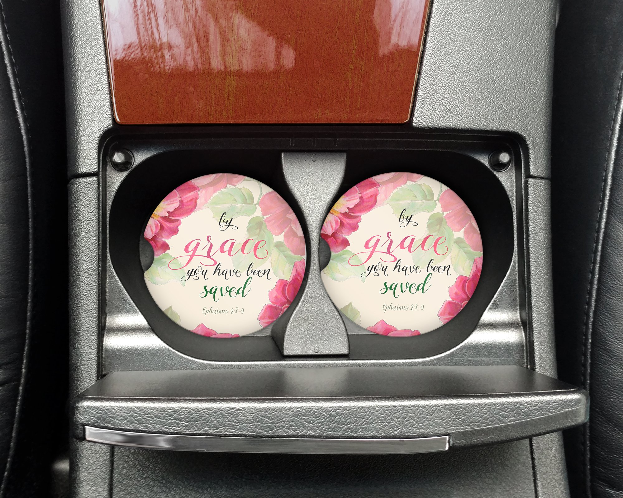 Bible quote - By Grace you have been saved - Ephesians 2:8-9 - Car coasters - Sandstone auto cup holder coasters - Christian Gifts for women