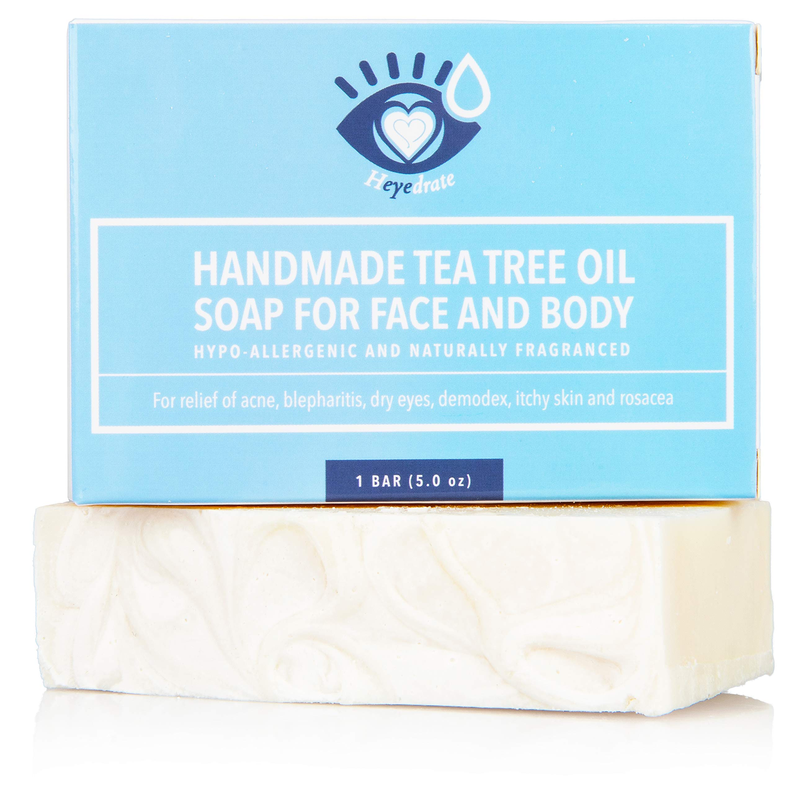 Tea Tree Oil Face Soap and Eyelid Scrub for Support of Eyelid Irritation, Itchy Skin, Flaky Skin, and Dryness, Handmade with Organic Ingredients (1 Pack) by Heyedrate