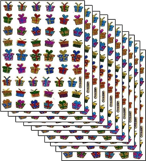 Caja de regalo sorpresa con adhesivos, 540 piezas, 10 hojas de 135 mm x 100 mm, pegatinas, manualidades para niños, fiestas, aspecto metálico: Amazon.es: Hogar