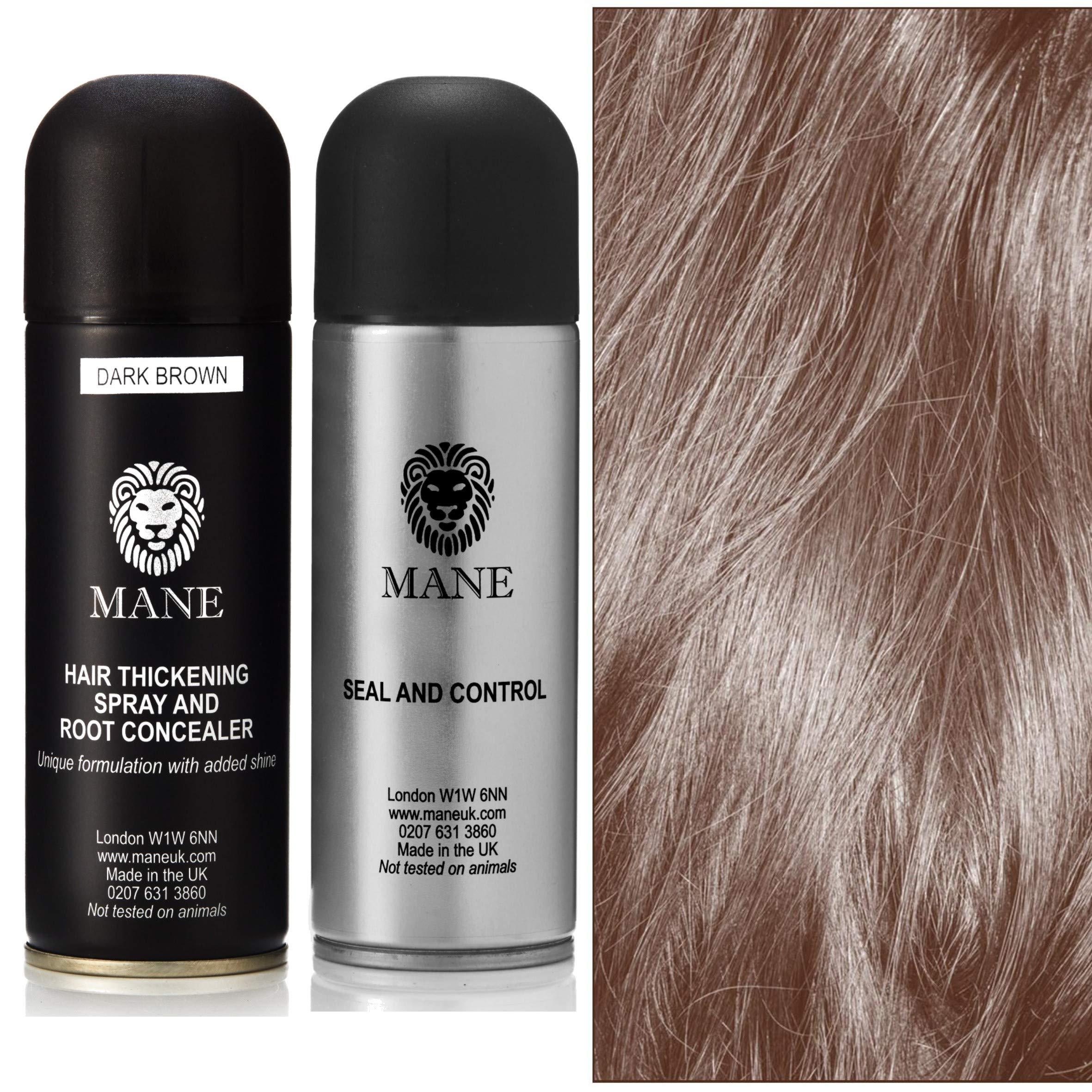 Mane Coloured Hair Thickening Spray Dark Brown 200ml with Seal & Control 200ml Aerosol Fixing Spray