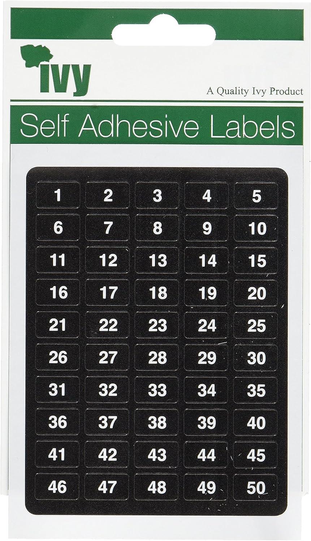 Ivy Etichette autoadesive piccole numerate da 1 a 200 16 etichette per numero, 3200 etichette totali