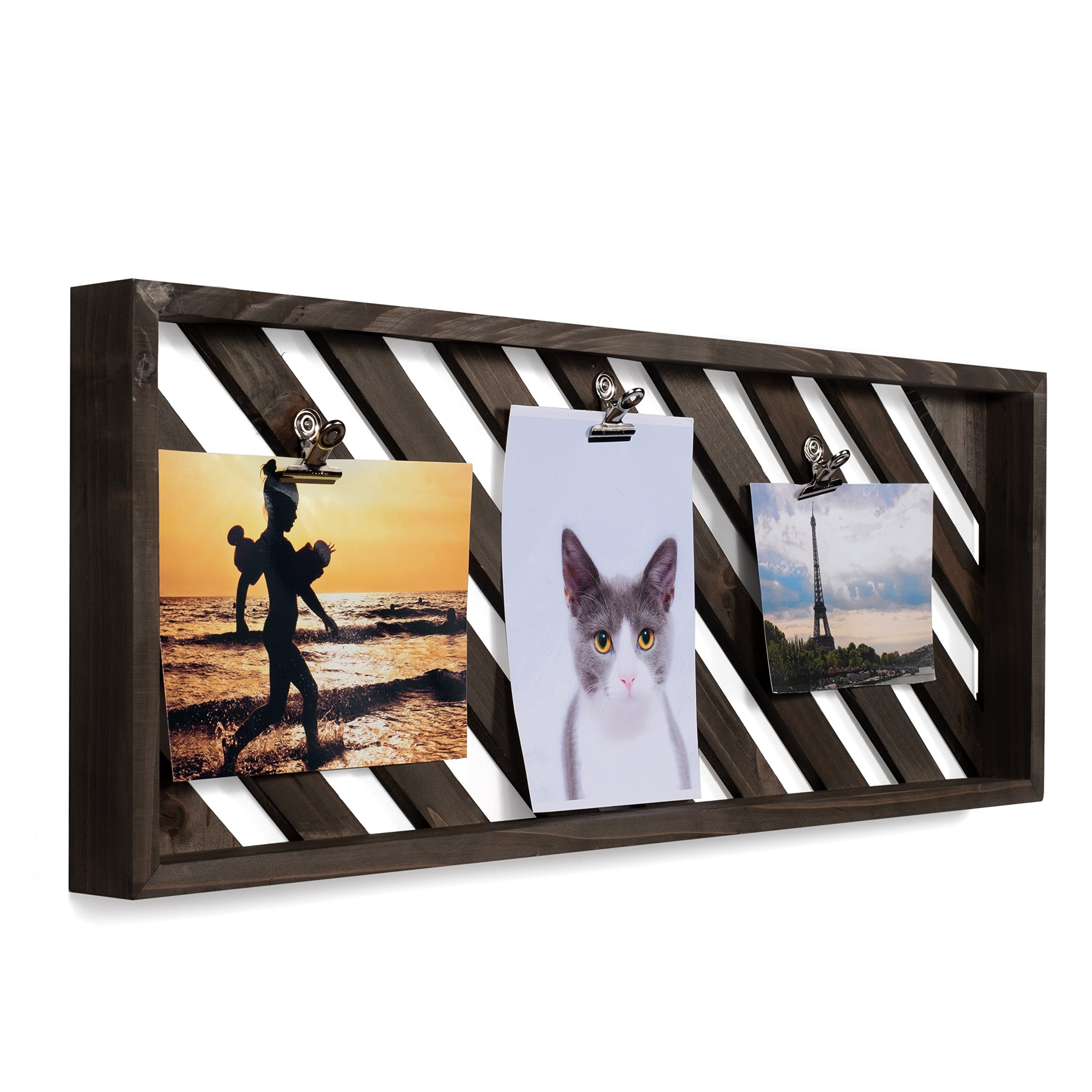 brightmaison Rustic Style 23 Inch Wooden Photo Display Board with 5 Clips (Gray)