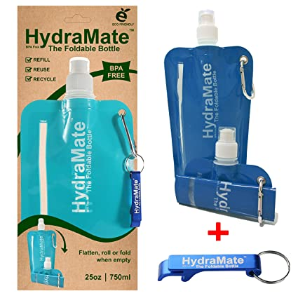 HydraMate COLLAPSIBLE BOTTLE  BPA Free  Foldable Water Bottle 25oz/750ml  Lightweight, Soft, Squeezable, Eco-Friendly Folding Bottle  Sports Cap,