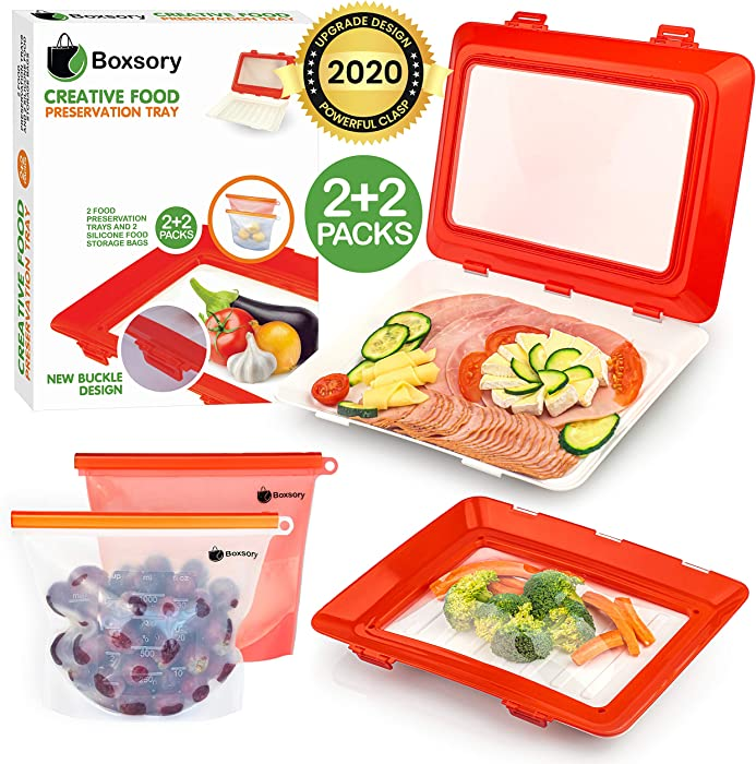 Boxsory Food Preservation Trays - Vacuum Seal Containers with Lids - Stackable, Reusable and Odor Free - Dishwasher Safe Refrigerator Storage Tray (2pcs) + Silicone Bags (2pcs) to Keep Food Fresh