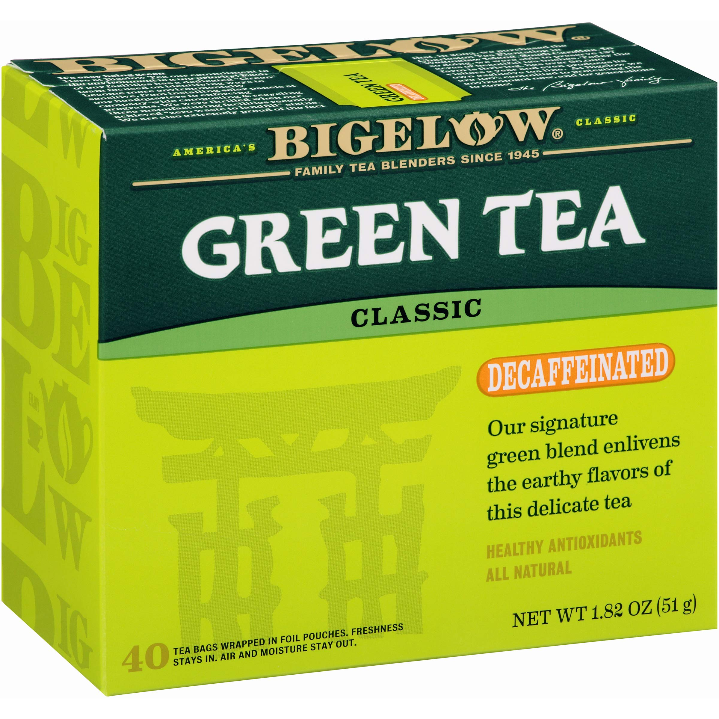 Bigelow Decaffeinated Green Tea 4, Decaffeinated Individual Green Tea Bags, for Hot Tea or Iced Tea, Drink Plain or Sweetened with Honey or Sugar, 40 Count, Pack of 6 by Bigelow