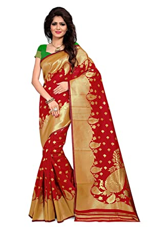 c3938b6b7d7 Rutrang Beautiful Poly Silk Saree in Crimson Red- Made of the Highest  Quality Poly Silk