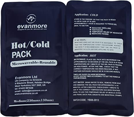 2 x Evanmore reusable hot cold pack packs ice heat gel physio compress 13 x 25cm: Amazon.es: Electrónica