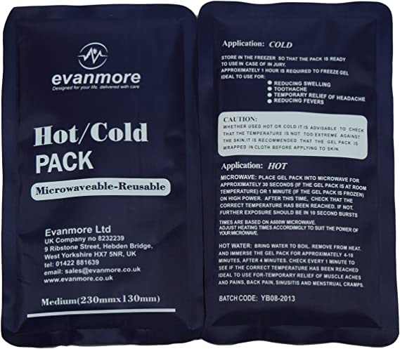 2 x Evanmore reusable hot cold pack packs ice heat gel physio ...