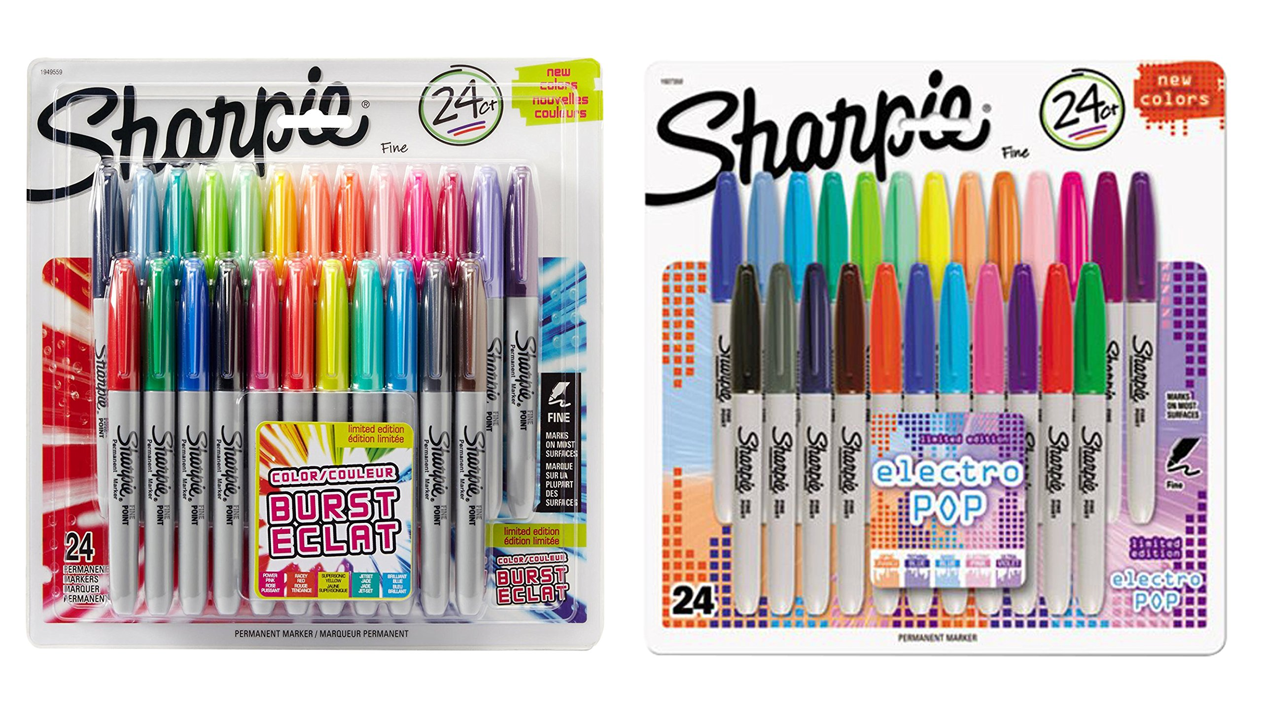 Sharpie Color Burst Permanent Markers, Fine Point, Assorted Colors, 24-Count, With a Pack of 24 Sharpie Electro Pop Permanent Markers, Fine Point by Sharpie (Image #2)
