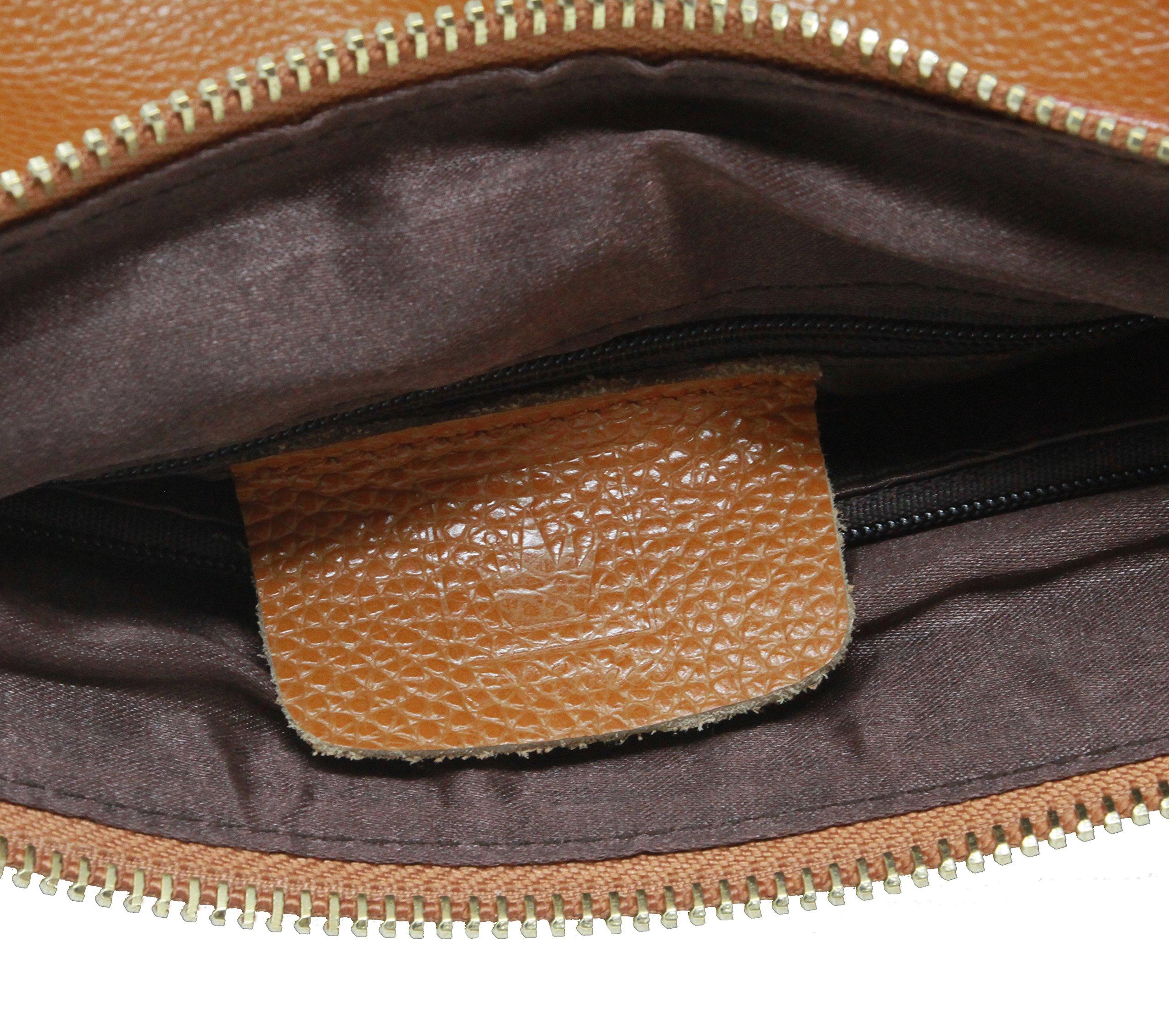 By Olivia - Women's Vintage Soft Genuine Leather Tote or Large Shoulder Bag with Outside Side Zipper Pocket by Olivia (Image #4)
