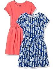Amazon Brand - Spotted Zebra Girls' Toddler & Kid 2-Pack Knit Short-Sleeve Cinch Waist Dresses