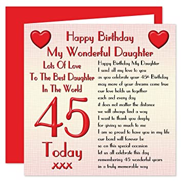 Daughter 45th Happy Birthday Card