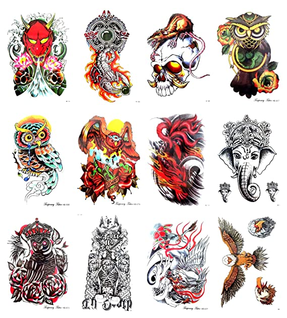 """70a8779a2b776 Image Unavailable. Image not available for. Color: 10 sheets skull owl  Ganesha large 8.25"""" half-sleeve arm tattoo realistic fake tattoos"""