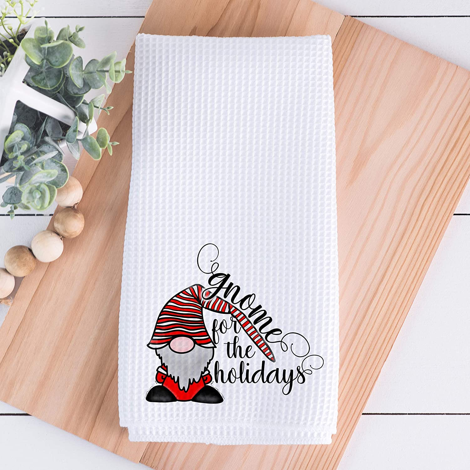 Amazon Com Christmas Kitchen Towels Gnome For The Holidays Handmade