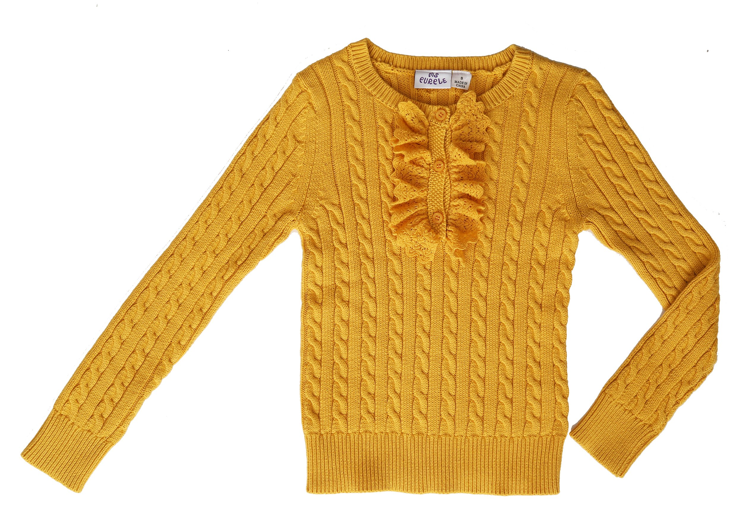 Ms Purple Girls' 100% Cotton Ruffle Sweater (Medium, Gold)