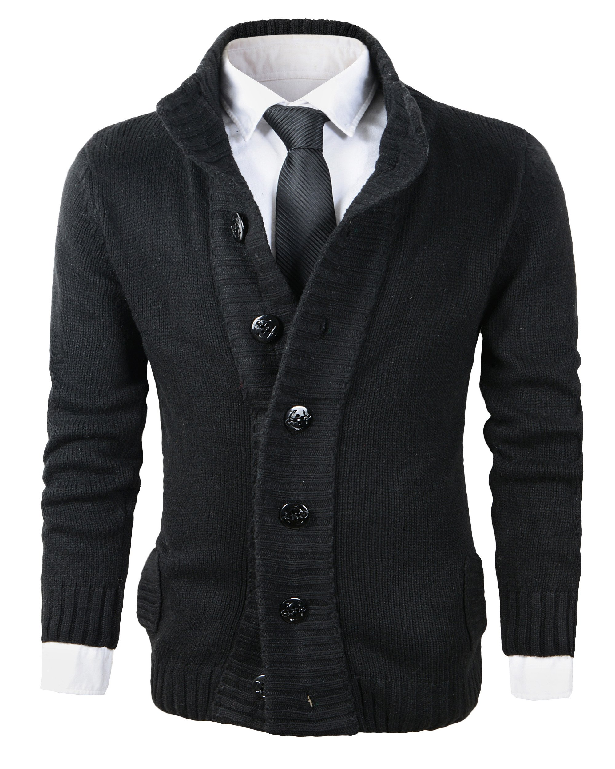 Benibos Men's Button Point Stand Collar Knitted Slim Fit Cardigan Sweater (XS, CYMYBlack)