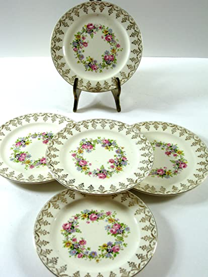 Edwin M. Knowles Antique Floral Cartouche Bread Butter Side Plates Set of 5 Semi Vitreous & Amazon.com | Edwin M. Knowles Antique Floral Cartouche Bread Butter ...