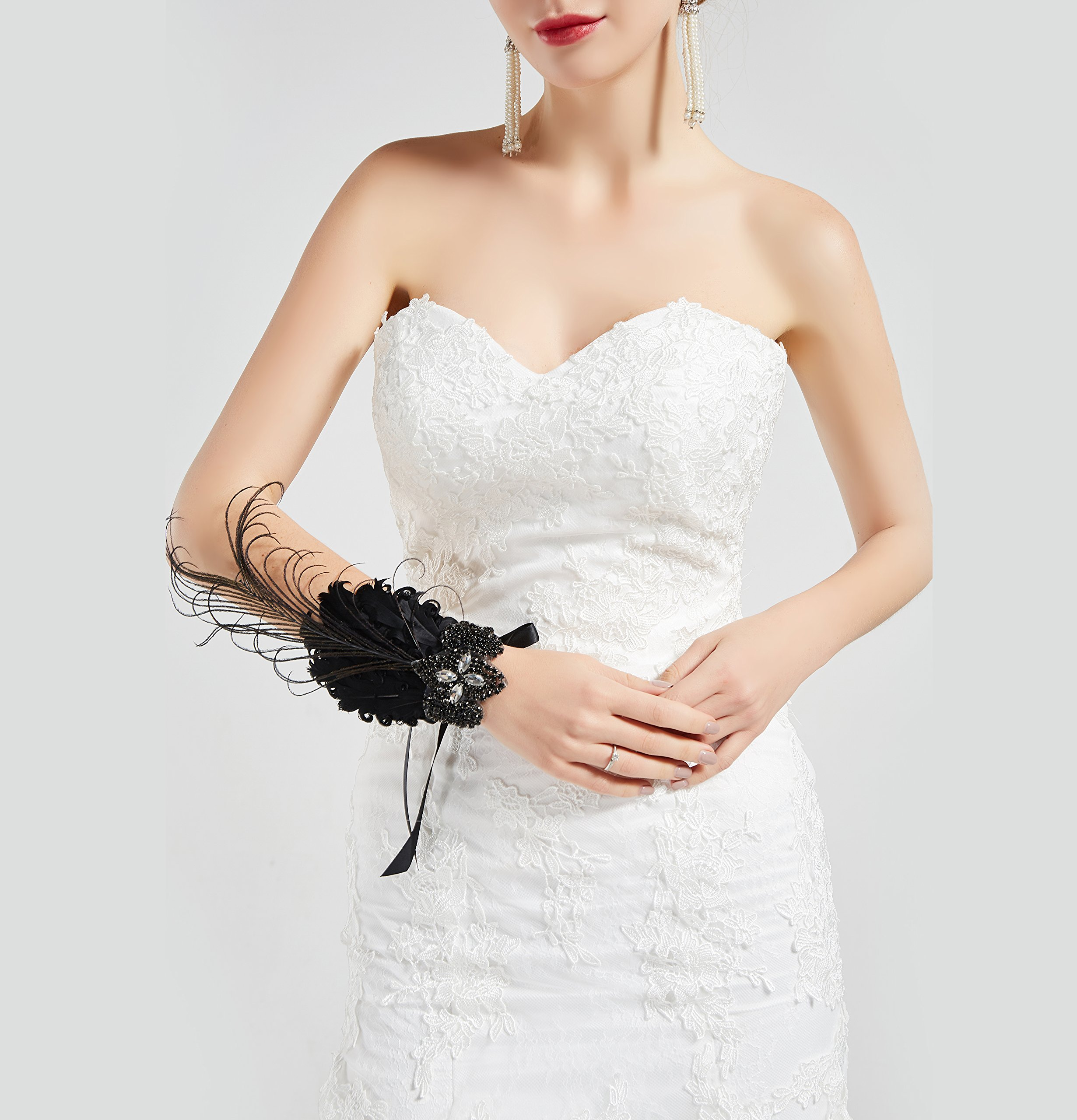 BABEYOND 1920s Wedding Wrist Corsage Gatsby Peacock Feather Bridal Wristband Corsage Roaring 20s Flapper Wedding Costume Accessories (Black by BABEYOND (Image #5)