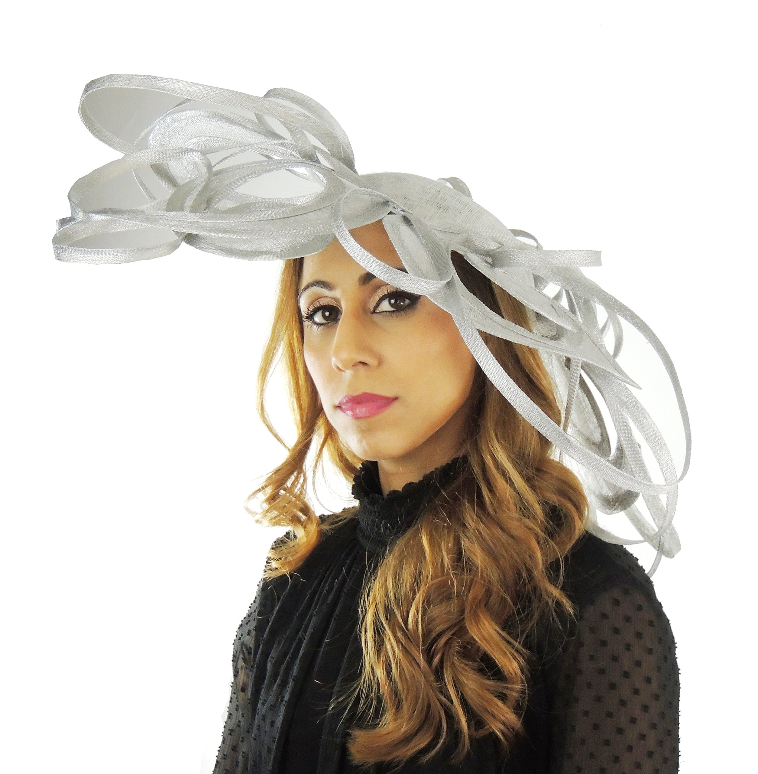 Gorgeous Ladies Ascot Kentucky Derby Wedding Fascinator Hat Metallic Silver