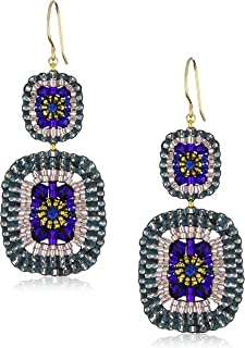 product image for Miguel Ases Blue Quartz and Swarovski Square Drop Earrings