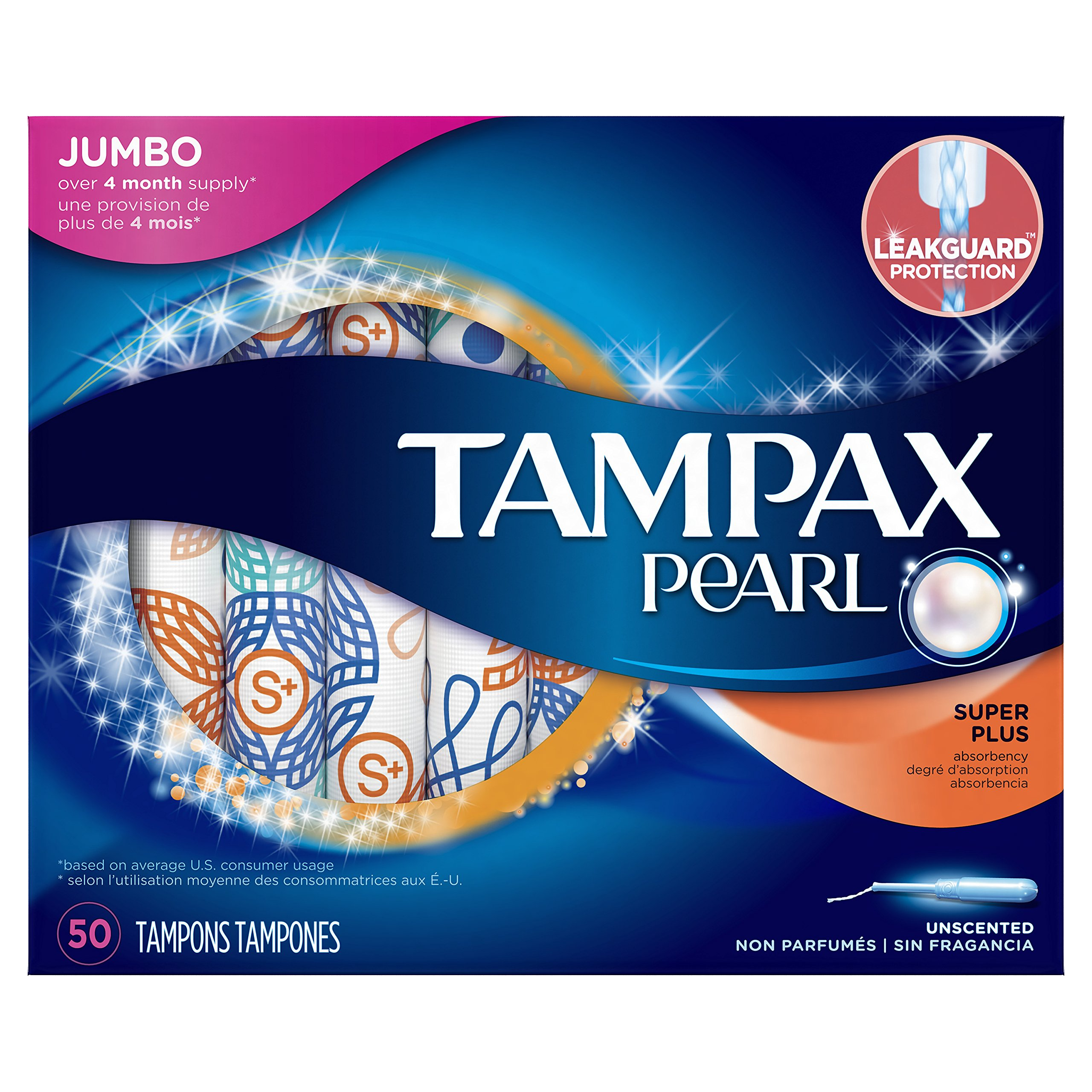 Tampax Pearl Plastic Applicator Tampons, Super Plus Absorbency, Unscented, 50 Count - Pack of 6 (300 Total Count)
