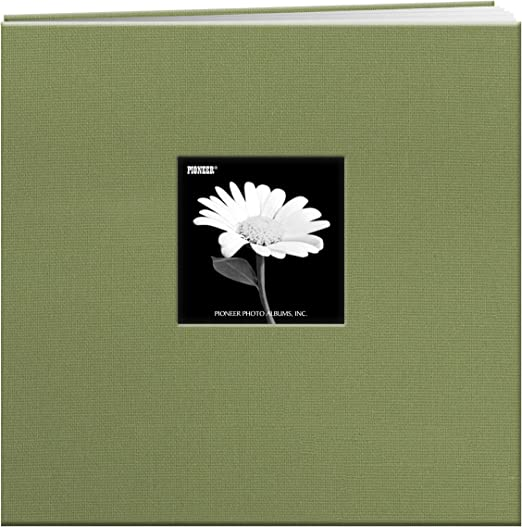 Sage Green Pioneer 12-Inch by 12-Inch Cloth Cover Postbound Memory Book with Window