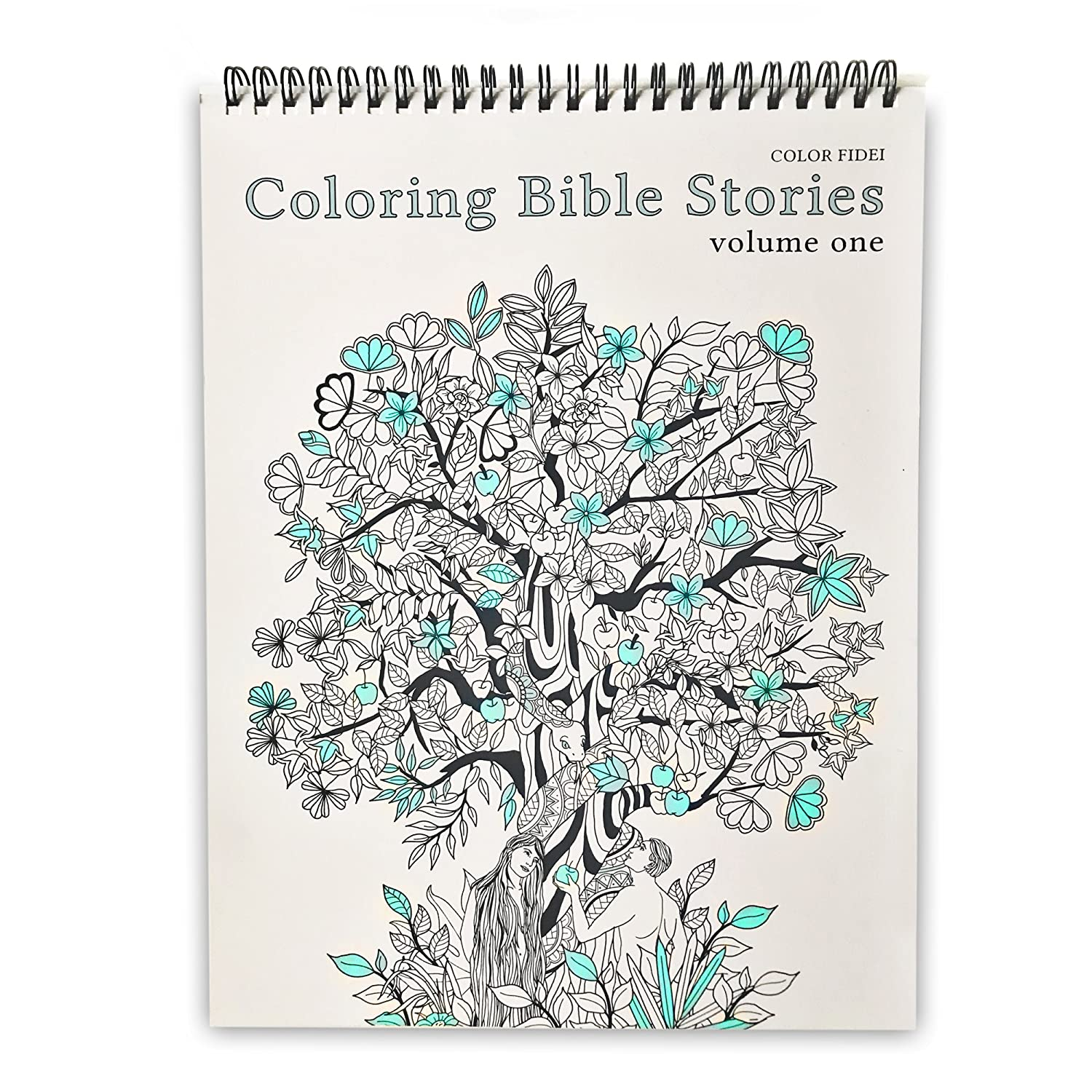 Coloring Bible Stories Volume 1 - Religious Themed Adult Coloring Book - with 50 Original Drawings, Pen/Marker Friendly Paper, Eco-Friendly, Top Spiral-Bound, and Blotter Page