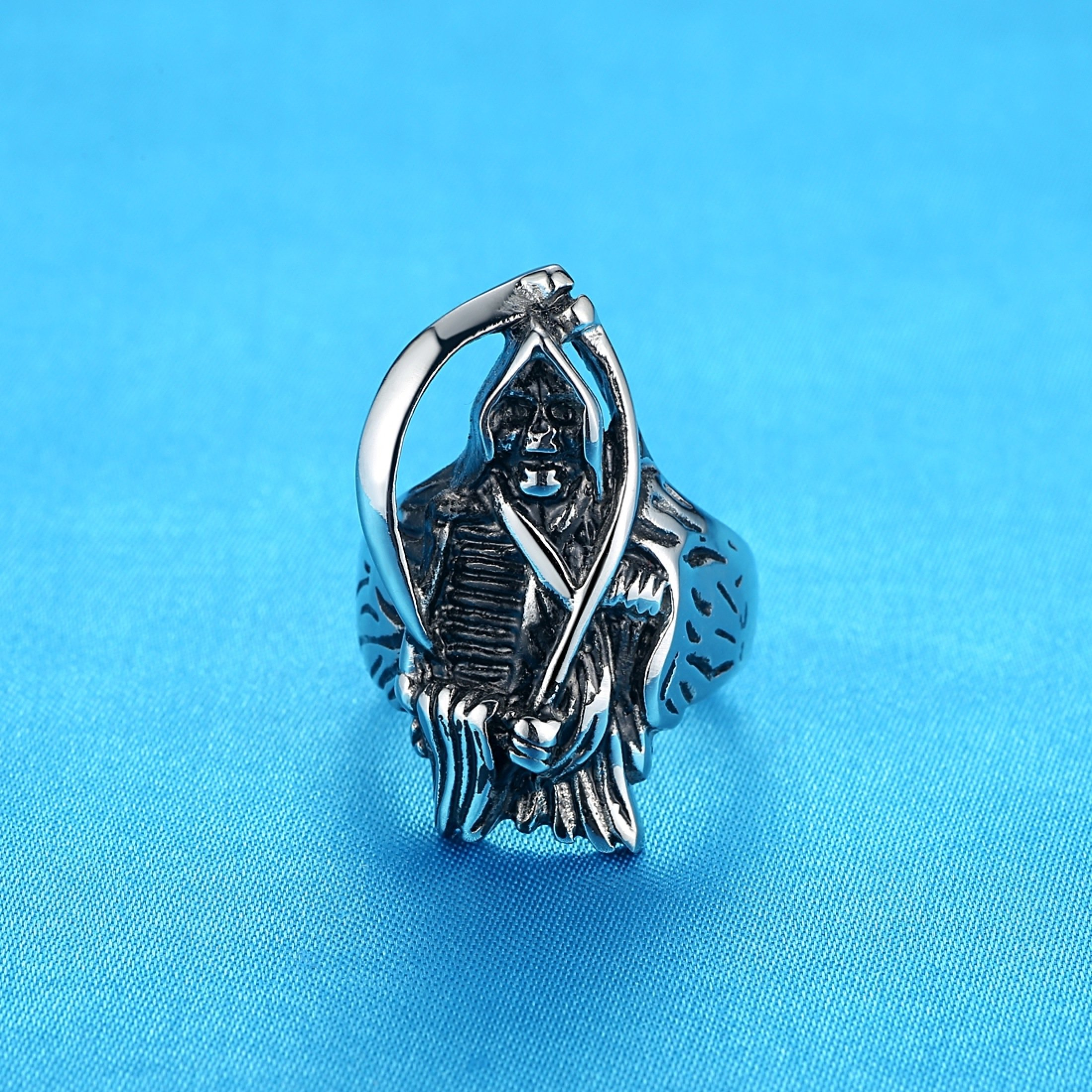 LineAve Men's Stainless Steel Grim Reaper Death Ring, Size 8, 8a5013s08 by LineAve (Image #2)