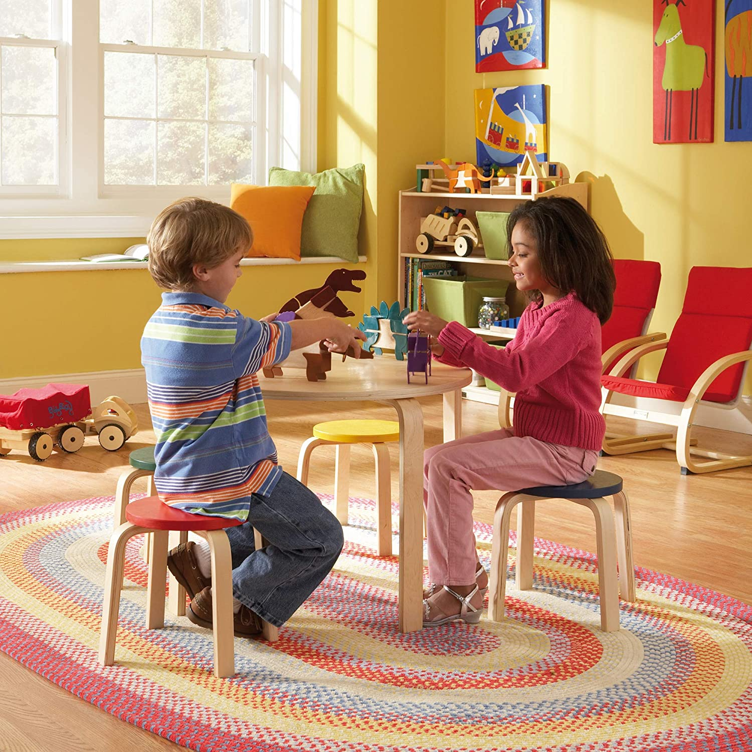 Red Natural GuideCraft Nordic Table and Chairs Set