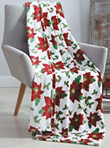 Holiday Christmas Poinsettia Decorative Throw Blanket: Soft and Comfy Fleece with Flower and Leaf Pattern, Accent for Couch Bed, Colored: Red Green White Yellow