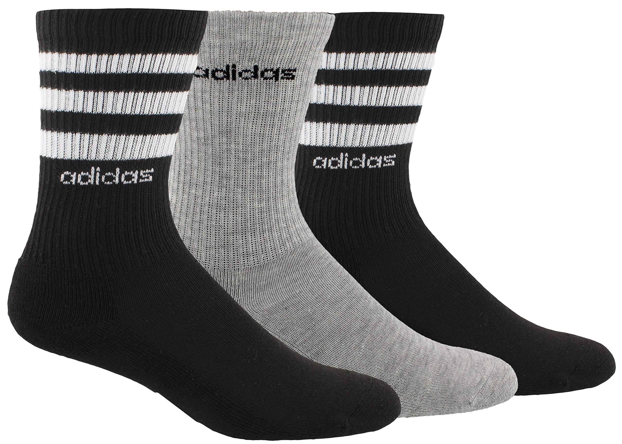 adidas Women's 3-Stripe Crew Socks (3-Pair), Black/White/Light Heather Grey, Medium, (Shoe Size 5-10) by adidas