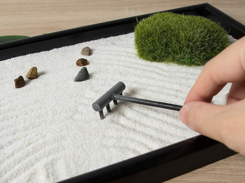 Stein und rechen f/ür entspannung und Meditation Sand 11,6 x 0,8 x 7,9 Zoll schwarz und schwarz Juvale Zen-Garten