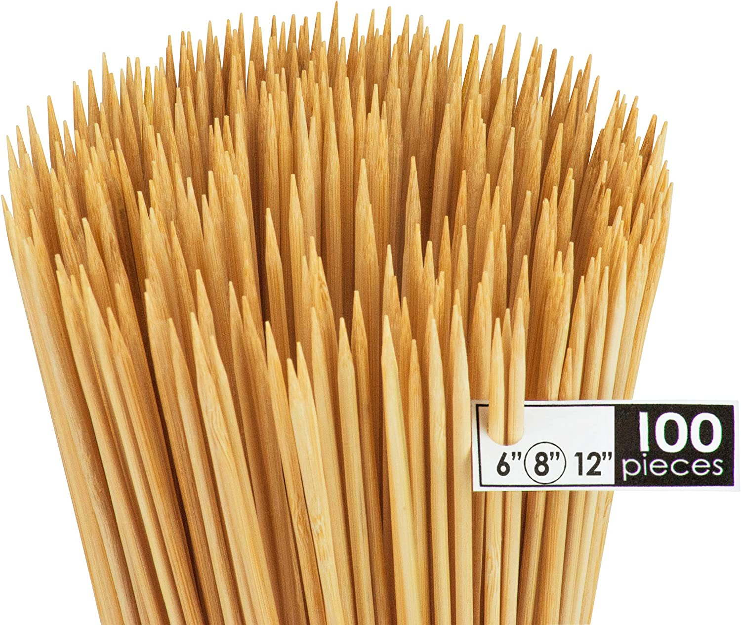 DecorRack Natural Bamboo Skewer Sticks, Natural Wooden Barbecue Kabob Skewers, Best for Grill, BBQ, Kebab, Marshmallow Roasting or Fruit Sticks, 8 inch (Pack of 100)