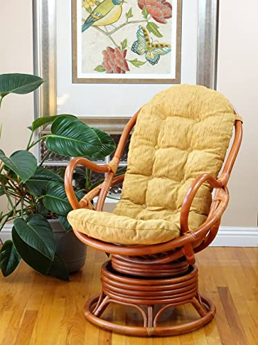 Lounge Swivel Rocking Rattan Wicker Java Chair Handmade w/Light Brown Cushion,Colonial Color