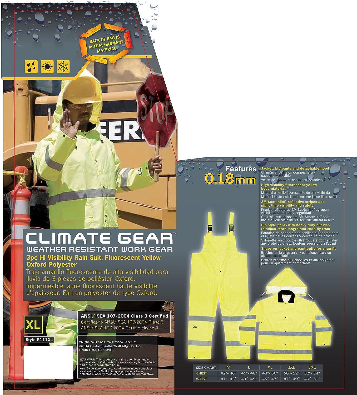 CLC Custom Leathercraft R111X 2-Piece ANSI 3 Polyester Rain Suit with Detachable Hood, X-Large