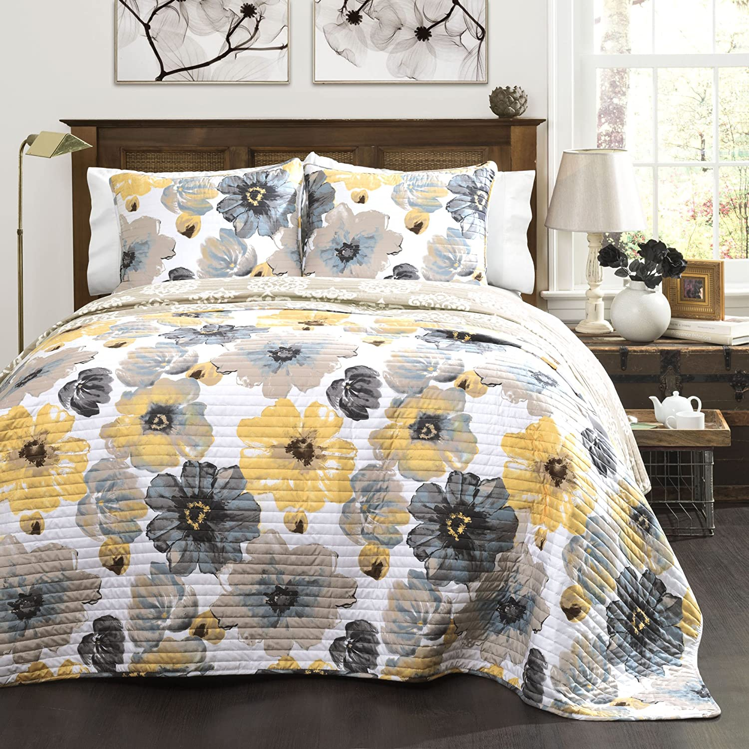gardens and gray bedding yellow better com walmart floral quilt collection homes bed ip