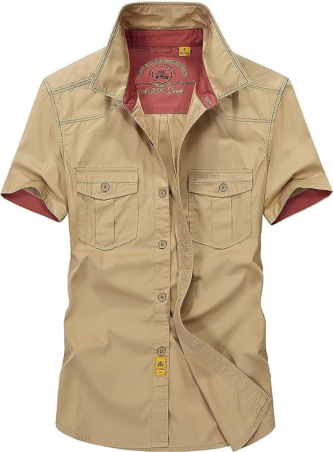 AFS JEEP - Camisa Casual - con Botones - para Hombre Amarillo Caqui Large: Amazon.es: Ropa y accesorios