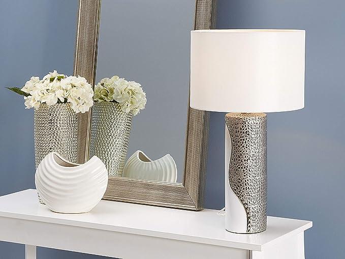 Beliani Lampada Da Tavolo Comodino Scrivania In Color Bianco Argento Design Moderno Aiken Beliani Amazon It Illuminazione