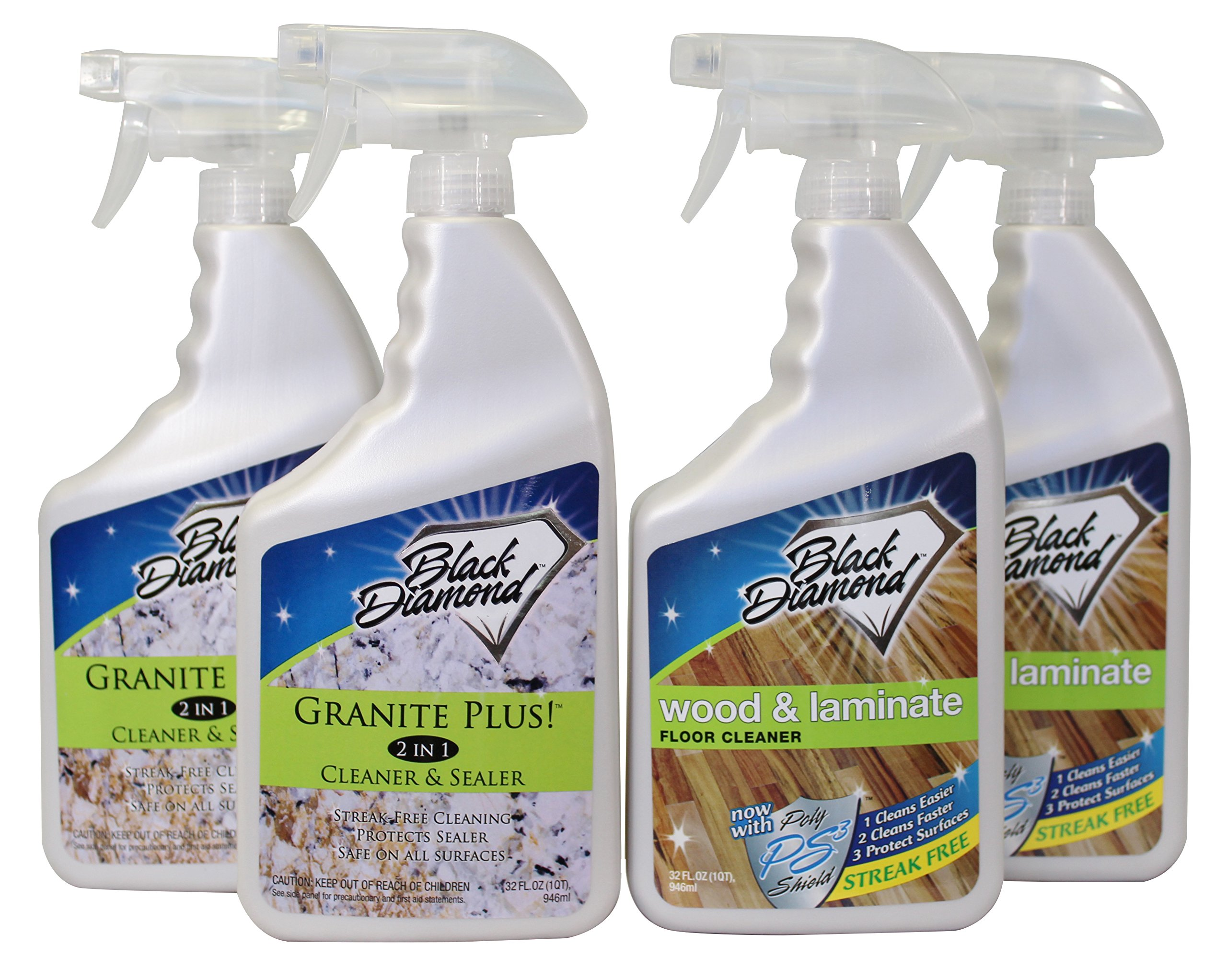Granite Plus! 2 in 1 Cleaner & Sealer for Granite, Marble, Travertine, Limestone, Ready to Use! Black Diamond Wood & Laminate Floor Cleaner: For Hardwood, Real, Natural & Engineered(1, 4-Quarts)