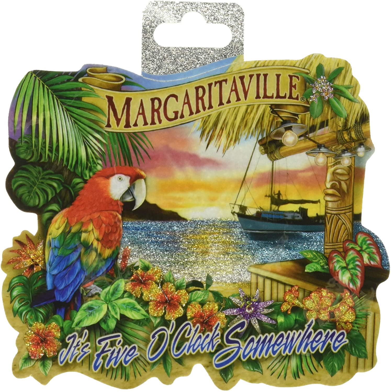 "Rico Industries VDCMGL111128C Margaritaville Die Cut Vinyl Decal,Blue, Green,Tan,5""/5"""