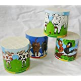 NEW SET OF 4 ANIMAL VOICE BOX SHEEP COW CAT BIRD NOISES TURN OVER TO HEAR! TOB